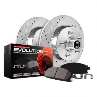Image may not reflect your exact vehicle! PowerStop® - 1-Click Z23 Evolution Sport Drilled and Slotted Rear Brake Kit w/o Calipers
