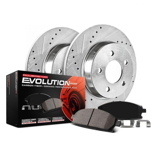 Image may not reflect your exact vehicle! Power Stop® - 1-Click Z23 Evolution Sport Drilled and Slotted Rear Brake Kit without Calipers