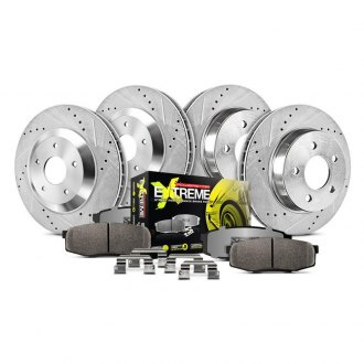 PowerStop® - 1-Click Street Warrior Z26 Vented Drilled and Slotted Front and Rear Brake Kit