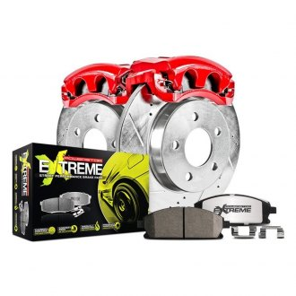 Power Stop® - 1-Click Street Warrior Z26 Drilled and Slotted Front Brake Kit with Calipers