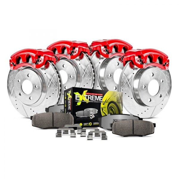 Power Stop® - 1-Click Street Warrior Z26 Drilled and Slotted Front and Rear Brake Kit with Calipers