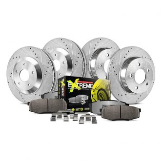 Power Stop® - 1-Click Street Warrior Z26 Drilled and Slotted Front and Rear Brake Kit