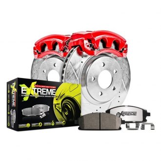 Power Stop® - 1-Click Street Warrior Z26 Drilled and Slotted Brake Kit with Calipers