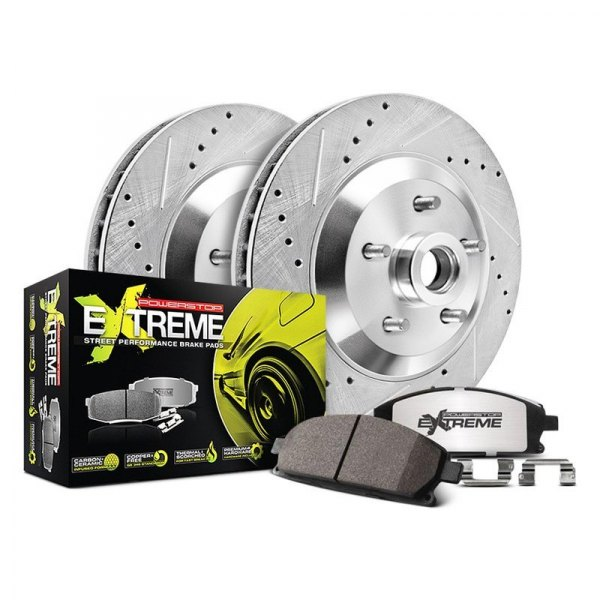 Power Stop® - 1-Click Street Warrior Z26 Drilled and Slotted Front Brake Kit without Calipers
