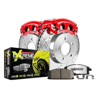 Power Stop® - 1-Click Street Warrior Z26 Drilled and Slotted Rear Brake Kit with Calipers