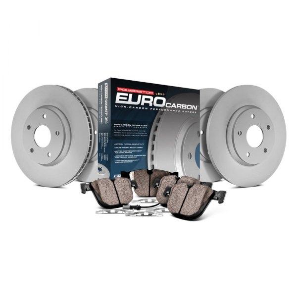 Coated Brake Rotors /& Ceramic Brake Pads Power Stop ESK5639 Euro-Stop Front and Rear Brake Kit