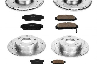 PowerStop® K2297 - 1-Click Front and Rear Brake Kit W/O Calipers (Front: 300mm, Rear: 259.80mm OD, PCD: Front: 5x114.30, Rear: 5x114.30)
