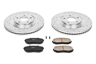PowerStop® K3057 - 1-Click Z23 Evolution Sport Vented Drilled and Slotted Front Brake Kit