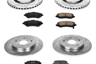 PowerStop® K5604 - 1-Click Front and Rear Brake Kit W/O Calipers (Front: 302mm, Rear: 305mm OD, PCD: Front: 5x127, Rear: 5x127)