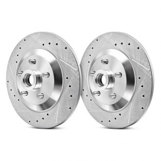 Power Stop® - Evolution Performance Drilled and Slotted Vented 1-Piece Front Brake Rotors and Hub Assembly