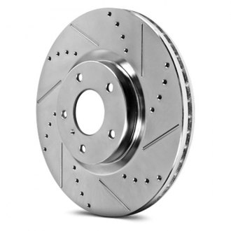 Image may not reflect your exact vehicle! PowerStop® - Drilled and Slotted Rear Driver Side Rotor
