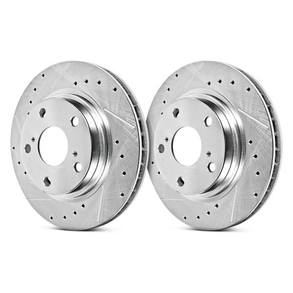 Image may not reflect your exact vehicle! PowerStop® - Solid Drilled and Slotted Rear Rotors