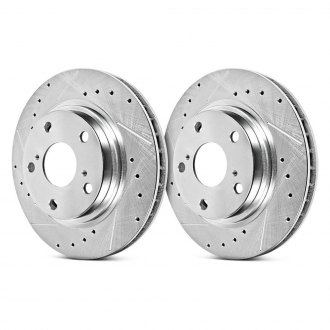 Image may not reflect your exact vehicle! PowerStop® - Vented Drilled and Slotted Rear Rotors