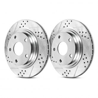 Power Stop® - Track Day Drilled and Slotted Vented 1-Piece Brake Rotors