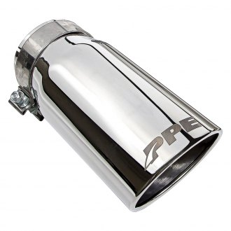 "PPE® - Stainless Steel Round Rolled Edge Angle Cut Clamp-On Polished Chrome Exhaust Tip (4"" Inlet, 11"" Length)"