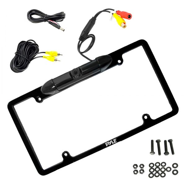 Pyle® - Lisence Plate Frame Mount Metal Black Chrome Low Lux Rear Camera