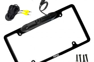 Pyle® - License Plate Frame Mount Metal Black Chrome Low Lux Rear Camera