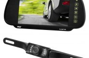Pyle® - Rear View Mirror with 7'' TFT Monitor and License Plate Mount Night Vision Camera