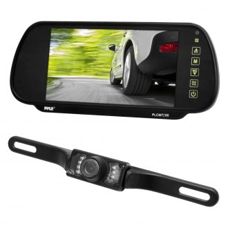 "Pyle® - Rear View Mirror with 7"" TFT Monitor and License Plate Mount Night Vision Camera"