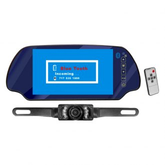 "Pyle® - Rear View Mirror with 7"" TFT Monitor and License Plate Mount Night Vision Camera with Bluetooth"