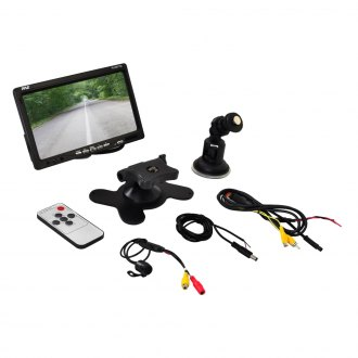 Pyle® - 7 Window Suction Mount TFT Video Monitor with CMD Rear View Back up Camera and Distance Scale Line