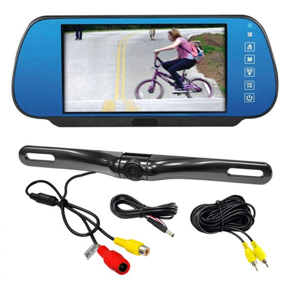 Pyle® - Rear View Mirror with 7'' TFT Monitor and License Plate Mount Back up Camera