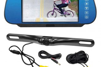 "Pyle® - Rear View Mirror with 7"" TFT Monitor and License Plate Mount Back Up Camera"
