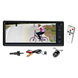 "Pyle® - Rear View Mirror with 8.1"" TFT Monitor and License Plate Mount Back Up Camera"