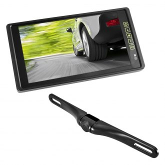 Pyle® - Rear View Mirror with TFT Monitor and License Plate Mount Back Up Camera