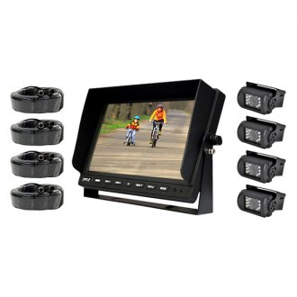 "Pyle® - 10.1"" LCD Color Monitor with Weatherproof Rear View Back Up Camera Kit with 4 Back Up Cameras"