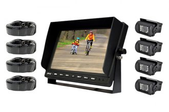 "Pyle® - 10.1"" LCD Color Monitor with Weatherproof Rearview Backup Camera with 4 Backup Cameras"
