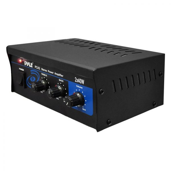 Pyle® - Mini 2 x 40W Stereo Power Amplifier (With RCA Inputs and Push Type Speaker Outputs)
