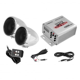 Pyle® - 3'' Chrome Motorcycle/ATV/Snowmobile 100W Sound System with LCD Display