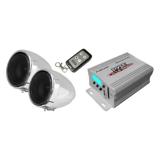 Pyle® - 3'' Chrome Motorcycle/ATV/Snowmobile 100W Sound System with LCD Display, USB/SD Card Ports, Built-in FM Tuner
