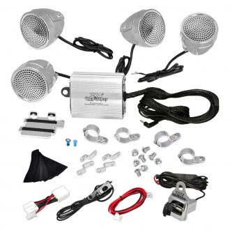 "Pyle® - 3-1/4"" Chrome Motorcycle/ATV/Snowmobile 1200W Sound System with USB"