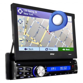 "Pyle® - Single DIN USB/SD/AM/FM Receiver with Built-in Mic for Hands-Free Call Answering, 7"" Touch Screen, AUX Input and GPS Navigation with USA/Canada/Mexico Maps"