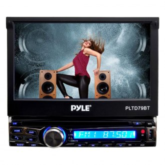 "Pyle® - Single DIN DVD/VCD/CD/CD-R/CD-RW/AM/FM Receiver with 7"" Touch Screen, Built-in Mic for Hands-Free Call Answering, USB/SD Card Readers and AUX Input"