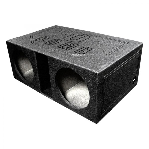 "QPower® - 12"" QBomb Series Dual Round Holes Vented Sprayed Subwoofer Box"