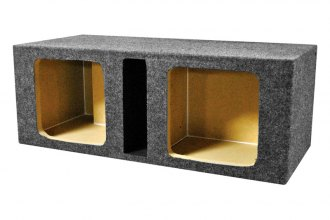"QPower® - 10"" Empty Dual Square Holes Vented Subwoofer Box"