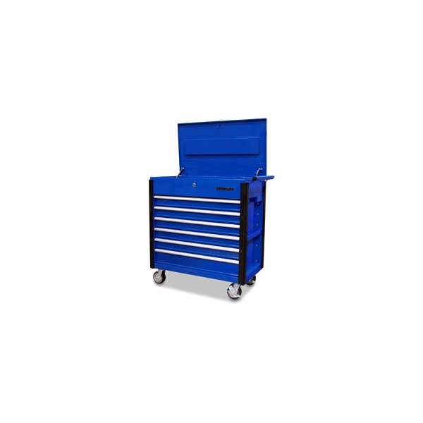 Quality craft 24967 blue 6 drawer professional tool cart for Quality craft tool box