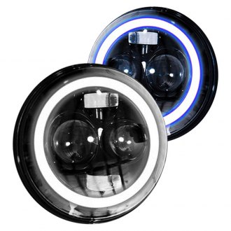 "Race Sport® - 7"" Round Black Switchback Halo Projector LED Headlights"