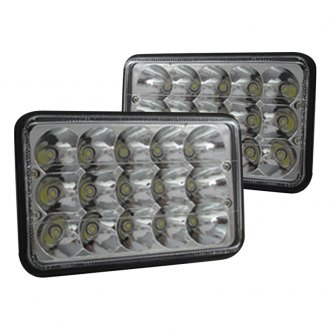 "Race Sport® - 7x6"" Rectangular Chrome LED Headlights"