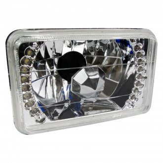"Race Sport® - 7x6"" Rectangular Chrome Diamond Cut LED Halo Headlight"