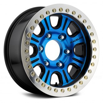 RACELINE® - RT232 AL MONSTER Black with Blue Face and Machined Cast Beadlocks