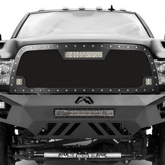 "RaceMesh® - Trucks™ LED Version Crimped Weave Mesh Grille with Dual 2"" and Single 12"" LED"