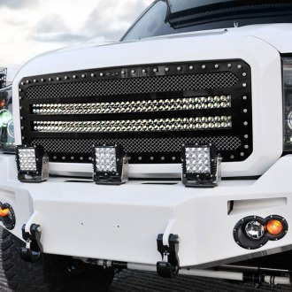 "RaceMesh® - Trucks™ LED Version Crimped Weave Mesh Grille with Dual 40"" LED"