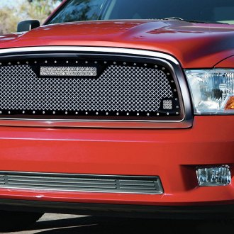 "RaceMesh® - 1-Pc Trucks™ LED Version Gothic Style Polished Mesh Grille with 1 x 12"" LED LED Light Bar and 2 x 2"" LED Light Cubes"