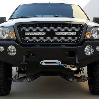 "RaceMesh® - 1-Pc Trucks™ LED Version Standard Weave Polished Mesh Grille with 2 x 12"" LED"
