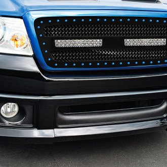 "RaceMesh® - 1-Pc Trucks™ LED Version Gothic Style Polished Mesh Grille with 2 x 12"" LED Light Bars"