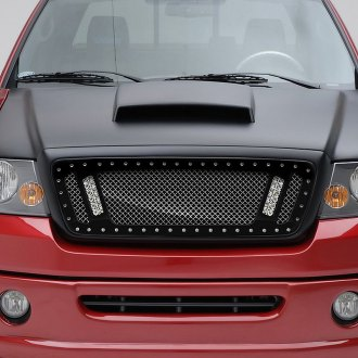 "RaceMesh® - 1-Pc Trucks™ LED Version Standard Weave Polished Mesh Grille with 2 x 6"" LED"